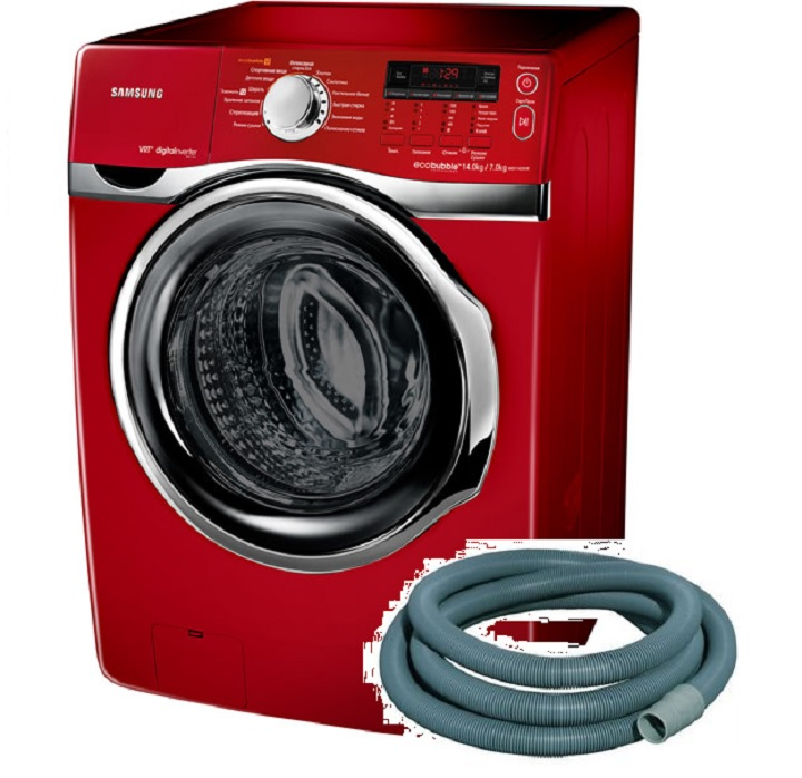 Красная стиральная машина и сливной шланг к ней