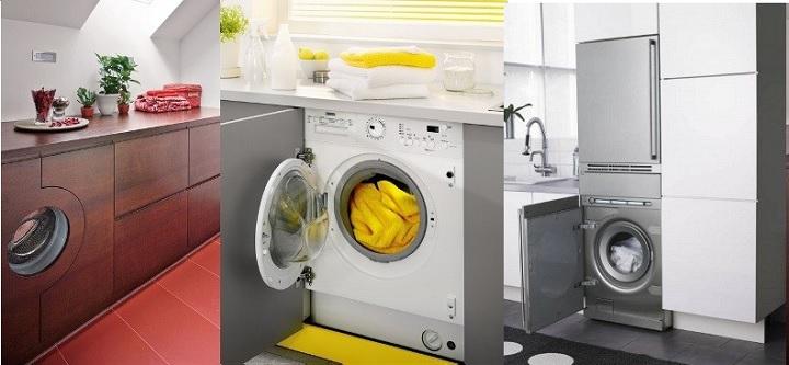 Варианты установки стиралок на кухне