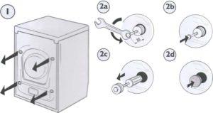 Инструкция как снять со стиральной машины транспортировочные болты