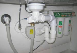 Подключение стиральной машины через плоский сифон
