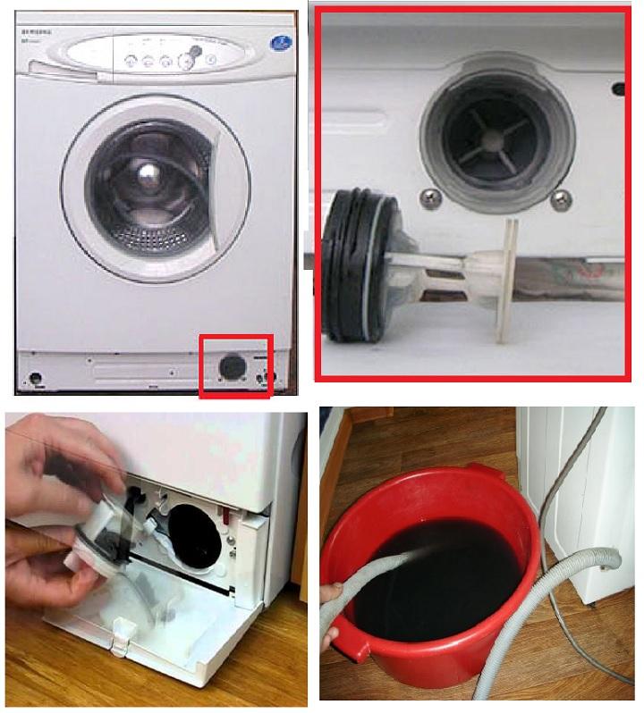 Пошагово, как слить воду через фильтр машинки