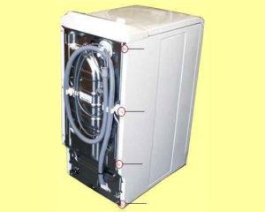 Снимаем боковую панель на вертикальной стиральной машинке
