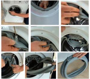 Снимаем манжету люка стиральной машины