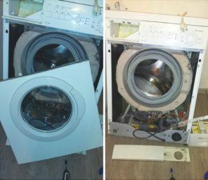 Снимаем переднюю панель стиральной машины