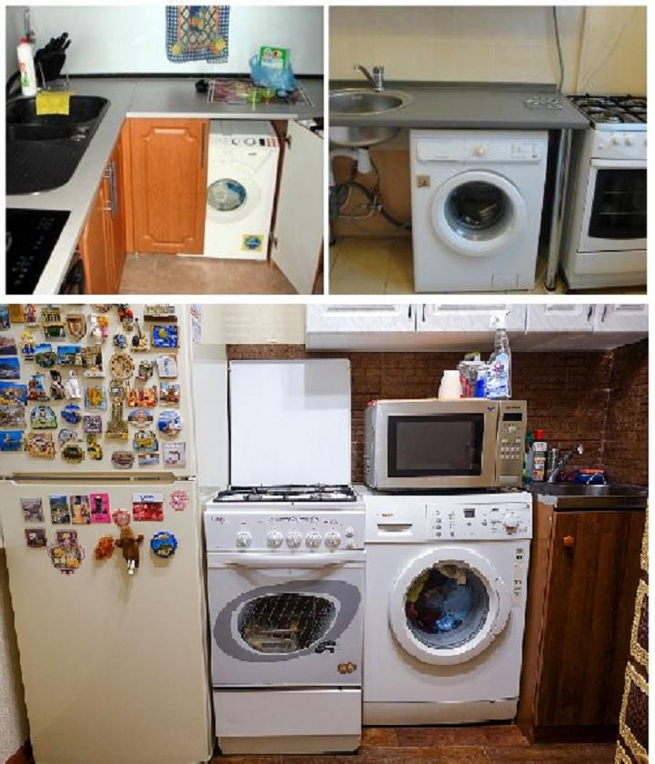 Подготовка места для стиральной машины на кухне