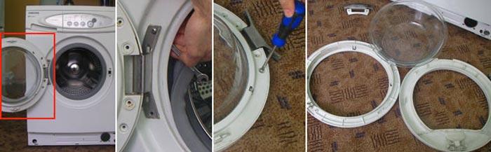 извлечение стекла стиральной машины