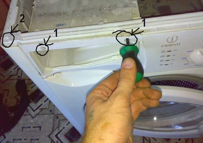 Снятие передней панели стиралки
