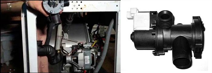 Разобранная стиральная машина и насос