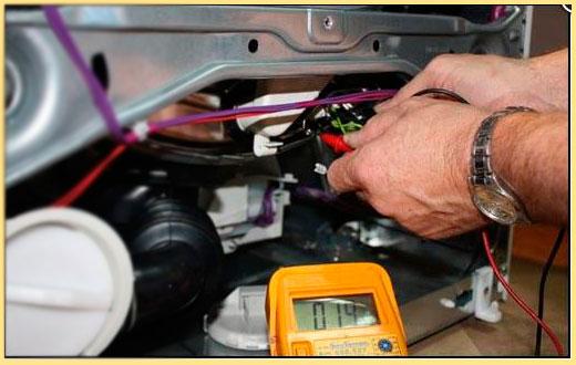 Измерение напряжения обмотки ротора и стартора стиральной машины