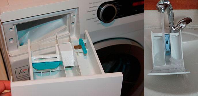 Выемка контейнера стиральной машины и мытье