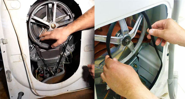 Проверка приводного ремня стиральной машины